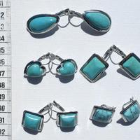 Сережки с камнями бирюзой