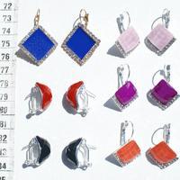 Сережки с цветным стеклом